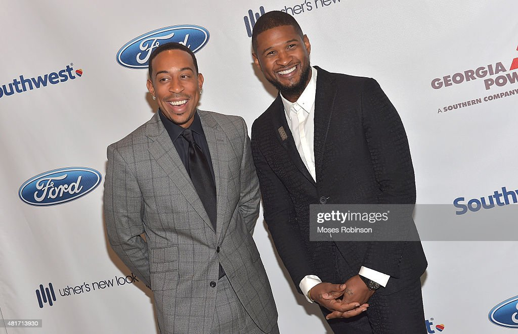 Recording Artist Ludacris and recording artist Usher Raymond attend Ushers New Look United to Ignite Awards Presidents Circle Luncheon on July 23, 2015 in Atlanta, Georgia.