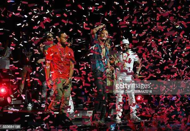 Recording artist Ludacris rappers Wiz Khalifa Ty Dolla Sign and 50 Cent perform during the official Billboard Music Awards after party at Drai's...