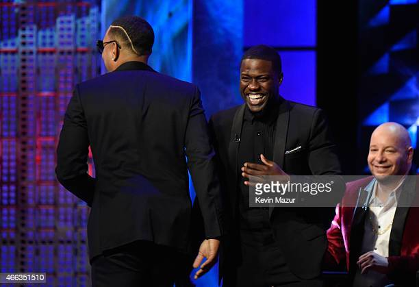 Recording artist Ludacris roastmaster Kevin Hart and comedian Jeff Ross speak onstage at The Comedy Central Roast of Justin Bieber at Sony Pictures...