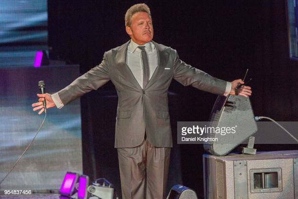 Recording artist Luis Miguel performs on stage during opening night of his Mexico Por Siempre Tour at Mattress Firm Amphitheatre on May 4 2018 in...
