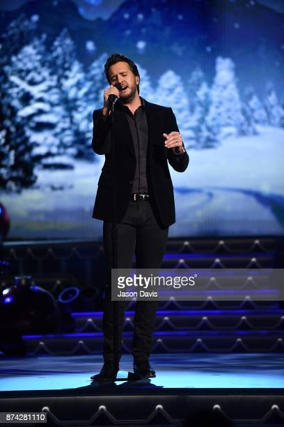 Recording Artist Luke Bryan performs on stage during 2017 CMA Country Christmas at The Grand Ole Opry on November 14 2017 in Nashville Tennessee