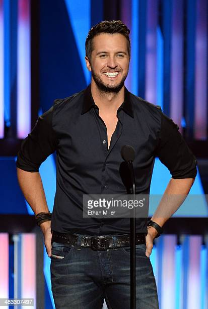 Recording artist Luke Bryan speaks onstage during ACM Presents An AllStar Salute To The Troops at the MGM Grand Garden Arena on April 7 2014 in Las...