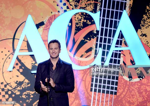 Recording artist Luke Bryan speaks onstage during the American Country Awards 2013 at the Mandalay Bay Events Center on December 10, 2013 in Las...