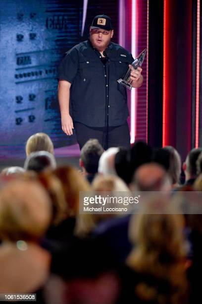 Recording artist Luke Combs accepts an award onstage during the 52nd annual CMA Awards at the Bridgestone Arena on November 14 2018 in Nashville...