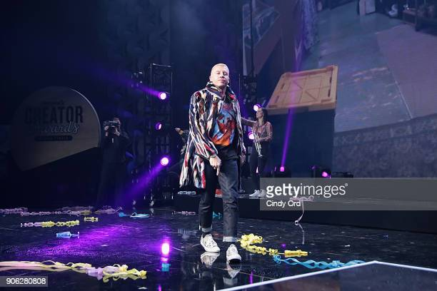 Recording Artist Macklemore appears backstage as WeWork presents Creator Awards Global Finals at the Theater At Madison Square Garden on January 17...