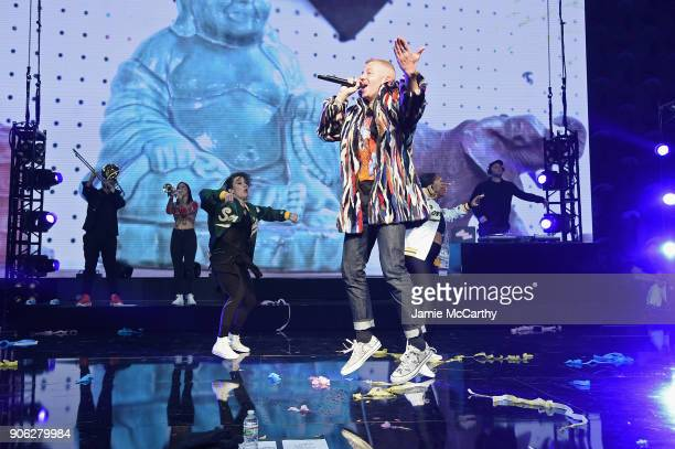 Recording Artist Macklemore appears on stage as WeWork presents Creator Awards Global Finals at the Theater At Madison Square Garden on January 17...