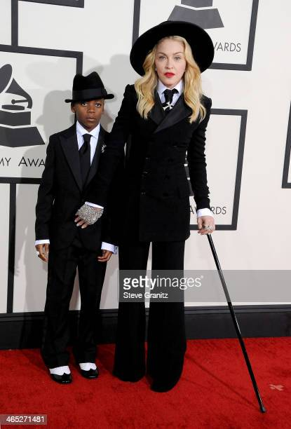 Recording artist Madonna and David Banda attend the 56th GRAMMY Awards at Staples Center on January 26 2014 in Los Angeles California