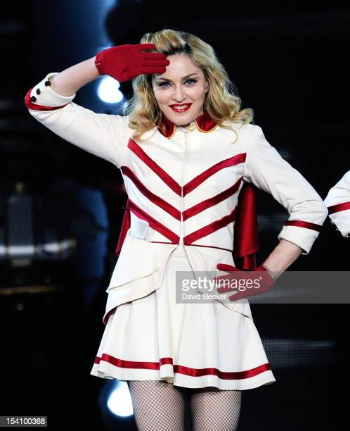 Recording artist Madonna performs at the MGM Grand Garden Arena as she tours in support of her album MDNA October 13 2012 in Las Vegas Nevada