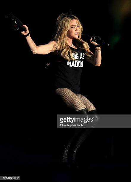 Recording artist Madonna performs onstage with Drake during day 3 of the 2015 Coachella Valley Music & Arts Festival at the Empire Polo Club on April...