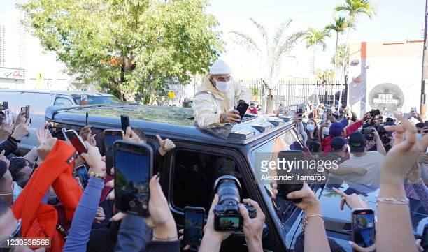 Recording artist Maluma is seen at a Wynwood gallery pop-up where he surprised fans while promoting his new album 7DJ on February 2, 2021 in Miami,...