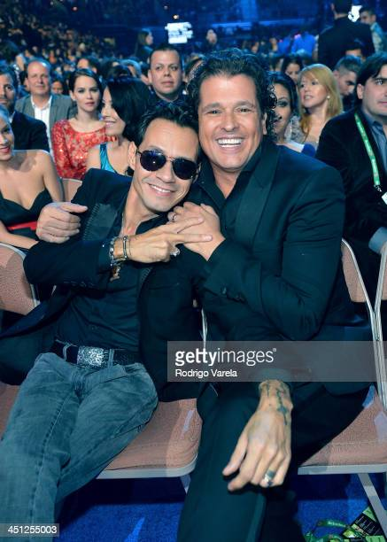 Recording artist Marc Anthony and singer Carlos Vives attend The 14th Annual Latin GRAMMY Awards at the Mandalay Bay Events Center on November 21...