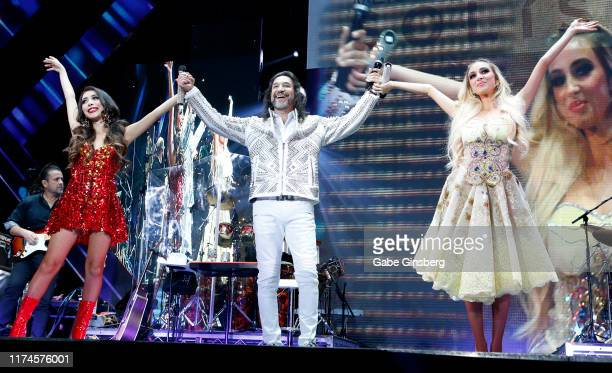 Recording artist Marco Antonio Solis performs with his daughters, singers Alison Solis and Marla Solis, at the Mandalay Bay Events Center on...