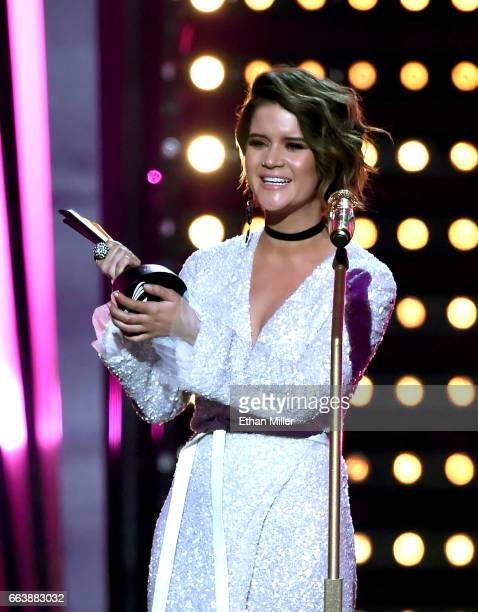 Recording artist Maren Morris accepts the TMobile New Female Vocalist of the Year award onstage during the 52nd Academy of Country Music Awards at...