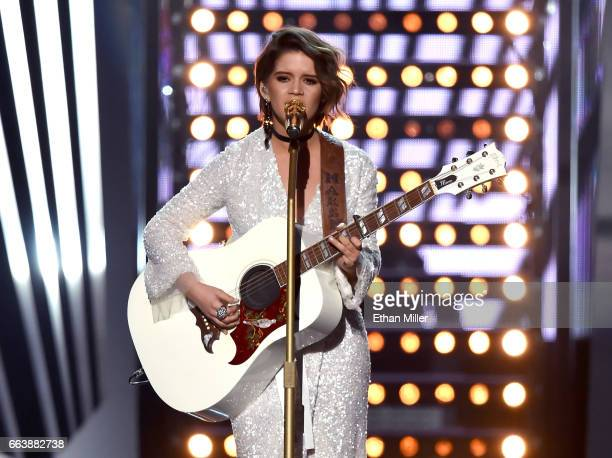 Recording artist Maren Morris performs onstage during the 52nd Academy of Country Music Awards at TMobile Arena on April 2 2017 in Las Vegas Nevada