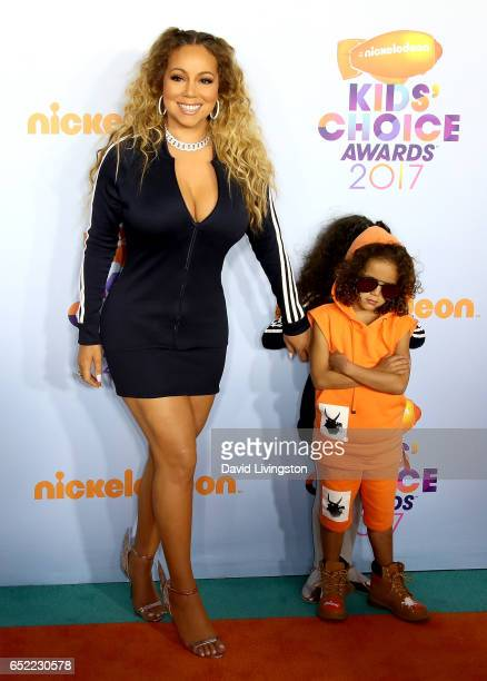 Recording artist Mariah Caery Monroe Cannon and Moroccan Cannon attend Nickelodeon's 2017 Kids' Choice Awards at USC Galen Center on March 11 2017 in...