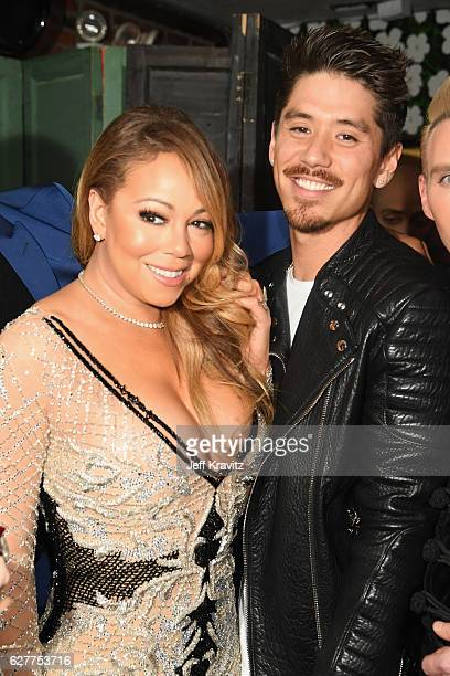 Recording Artist Mariah Carey and choreographer Bryan Tanaka attend MARIAH'S WORLD Viewing Party at Catch on December 4 2016 in New York City