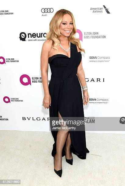 Recording artist Mariah Carey attends the 24th Annual Elton John AIDS Foundation's Oscar Viewing Party at The City of West Hollywood Park on February...