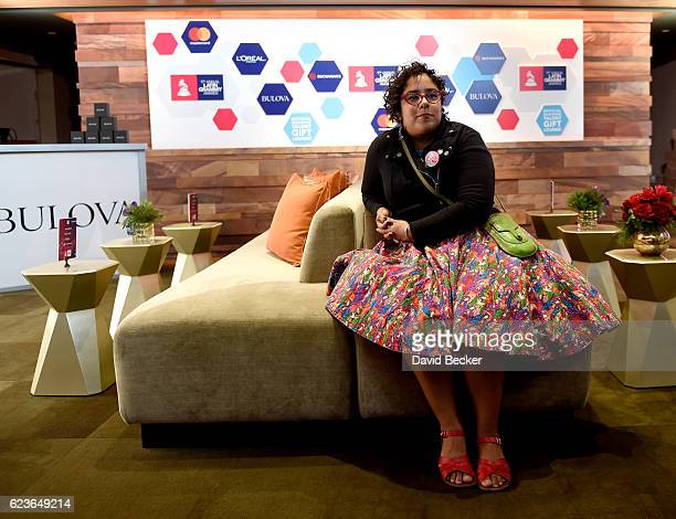 Recording artist Marisol Hernandez of La Santa Cecilia attends the gift lounge during the 17th annual Latin Grammy Awards at TMobile Arena on...