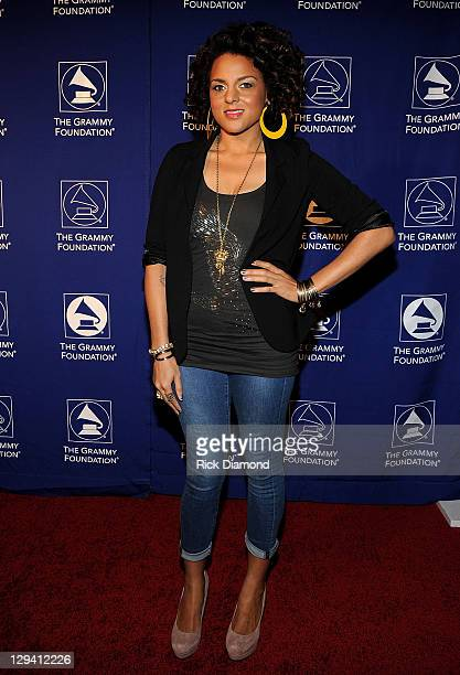 """Recording artist Marsha Ambrosius attends the 53rd Annual GRAMMY Awards Music Preservation Project """"Word Revolution"""" at the Wilshire Ebell Theatre on..."""