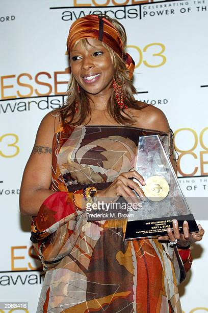 Recording artist Mary J Blige attends the 16th Annual Essence Awards at the Kodak Theatre on June 6 2003 in Hollywood California The show will air on...