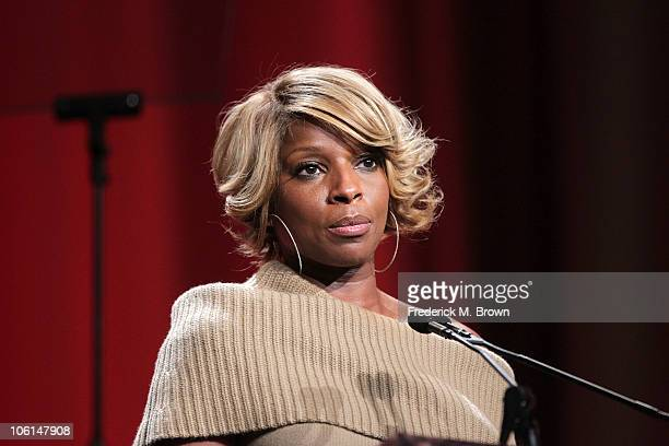 Recording artist Mary J Blige speaks during the Maria Shriver Women's Conference at the Long Beach Convention Center on October 26 2010 in Long Beach...