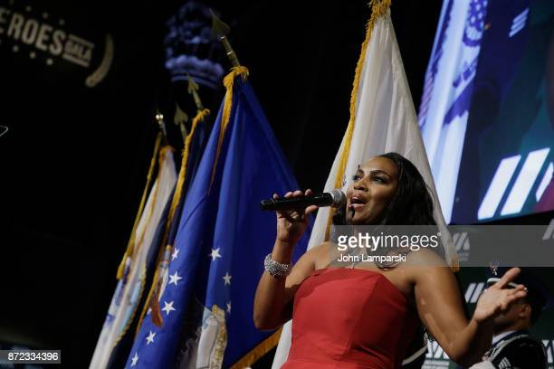 Recording artist Mary Millben and the US Military Color Guard perform during the 11th Annual IAVA Heroes Gala at Cipriani 42nd Street on November 9...
