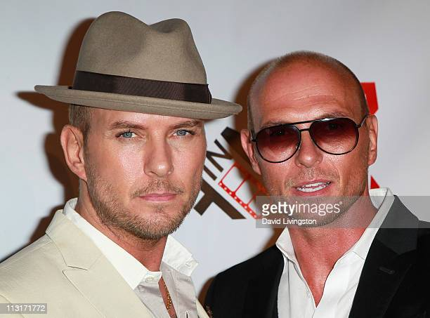 Recording artist Matt Goss and twin brother actor Luke Goss attend a screening of Films In Motion Lionsgate Entertainment's 'Blood Out' at the DGA on...