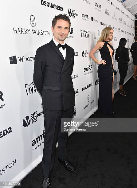 Recording artist Matthew Bellamy of Muse and Harry Winston at amfAR's Inspiration Gala Los Angeles at Milk Studios on October 29 2015 in Hollywood...