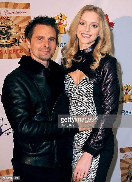 Recording Artist Matthew Bellamy of Muse and model Elle Evans attend the fundraising event to save circus animals of Mexico honoring Tippi Hedren and...