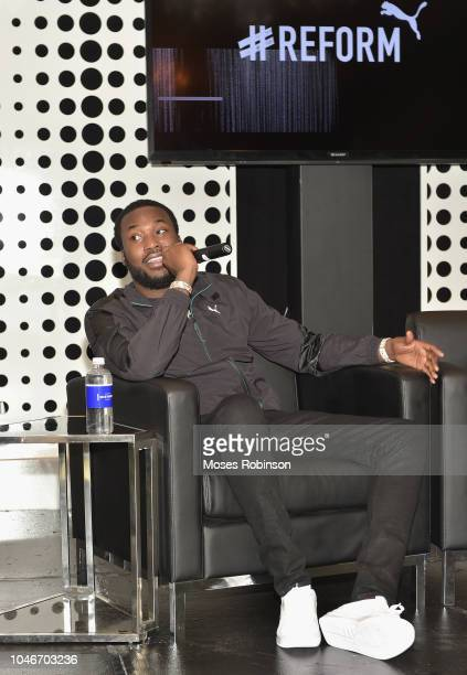 Recording artist Meek Mill speaks onstage during the PUMA #Reform To Drive Social Change launch at Atlanta History Center on October 6, 2018 in...