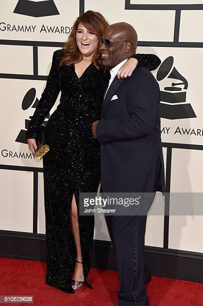 Recording artist Meghan Trainor and music producer LA Reid attend The 58th GRAMMY Awards at Staples Center on February 15 2016 in Los Angeles...