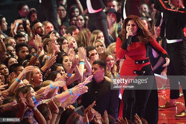 Recording artist Meghan Trainor performs onstage at the iHeartRadio Music Awards which broadcasted live on TBS TNT AND TRUTV from The Forum on April...