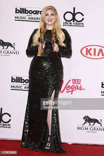 Recording artist Meghan Trainor winner of Top Hot 100 Song for All About That Bass and Top Digital Song for All About That Bass poses in the press...