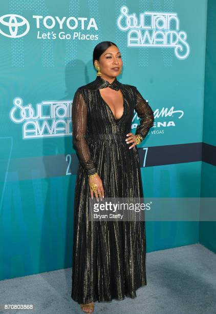 Recording artist Melanie Fiona attends the 2017 Soul Train Music Awards at the Orleans Arena on November 5 2017 in Las Vegas Nevada