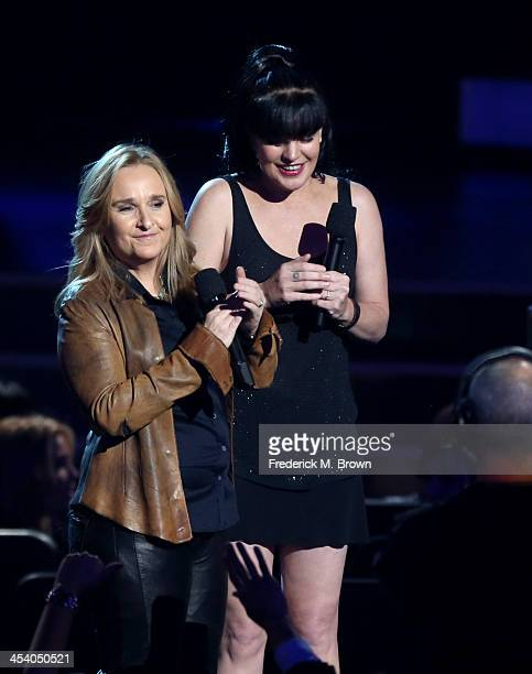 Recording artist Melissa Etheridge and actress Pauley Perrette speak onstage during The GRAMMY Nominations Concert Live Countdown To Music's Biggest...