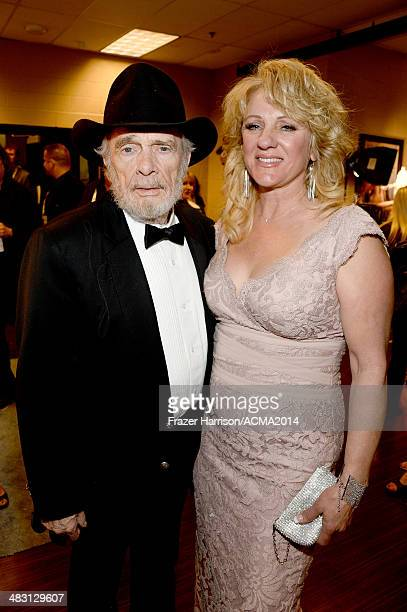 Recording artist Merle Haggard and Theresa Ann Lane attend the 49th Annual Academy of Country Music Awards at the MGM Grand Garden Arena on April 6...