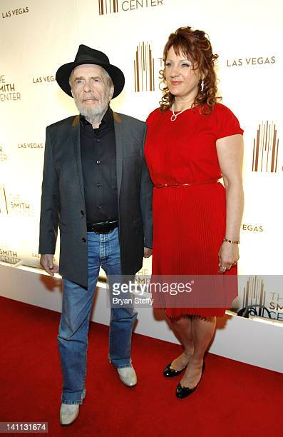 Recording artist Merle Haggard and wife Theresa Ann Lane arrive at the opening night of The Smith Center for the Performing Arts on March 10 2012 in...