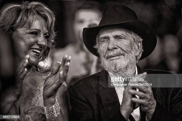 Recording artist Merle Haggard and wife Theresa Ann Lane attends the 49th Annual Academy of Country Music Awards at the MGM Grand Garden Arena on...