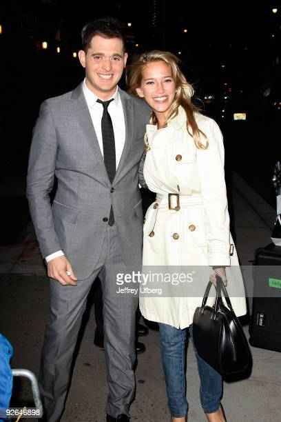 Recording artist Michael Buble and his girlfriend actress Luisana Lopilato visit 'Late Show With David Letterman' at the Ed Sullivan Theater on...