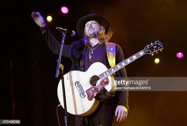 Recording artist Michael Hobby of music group A Thousand Horses performs onstage during the 50th Academy of Country Music Awards All Star Jam at ATT...