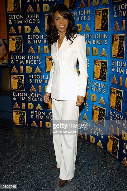 Recording artist Michelle Williams attends the after party for her Broadway debut in the musical 'Aida' December 11 2003 at LQ in New York City