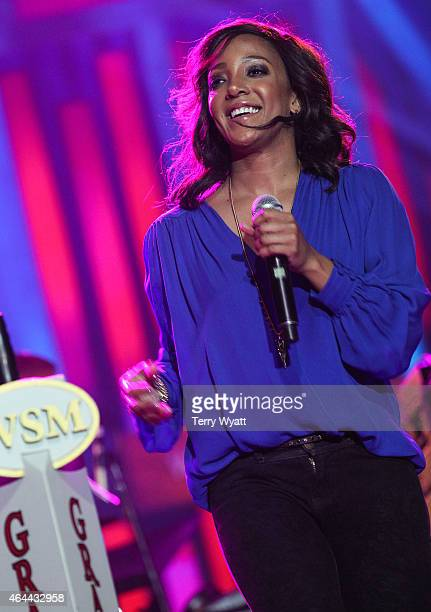 Recording artist Mickey Guyton performs during The Grand Ole Opry at CRS 2015 on February 25 2015 at the in Nashville Tennessee
