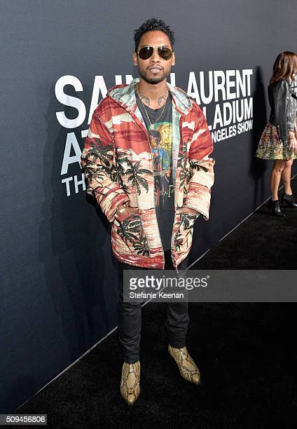 Recording artist Miguel attends Saint Laurent at the Palladium on February 10 2016 in Los Angeles California for the Saint Laurent Los Angeles show