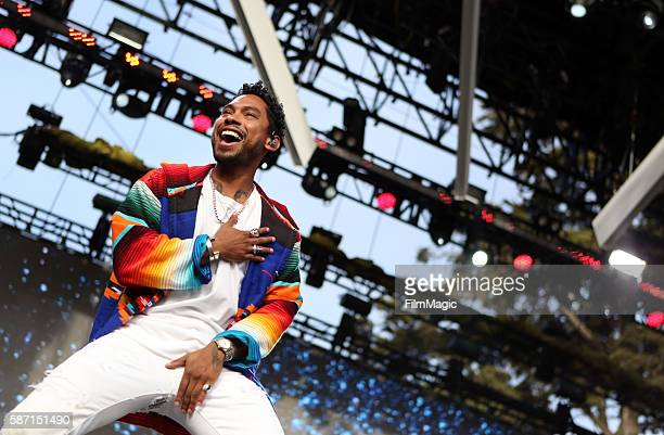 Recording artist Miguel performs on the Twin Peaks Stage during the 2016 Outside Lands Music And Arts Festival at Golden Gate Park on August 7 2016...