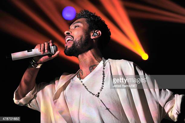 Recording artist Miguel performs onstage during the Miguel 'Centric Live' taping during the 2015 BET Experience at Club Nokia on June 26 2015 in Los...