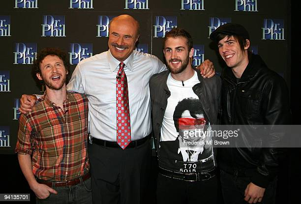 Recording artist Mike Einziger Dr Phil McGraw and recording artists Jordan McGraw and Zachary Merrick attend the taping of the Dr Phil television...