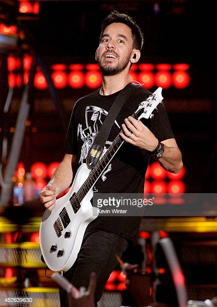 Recording artist Mike Shinoda performs onstage at the MTVu Fandom Awards during ComicCon International 2014 at PETCO Park on July 24 2014 in San...