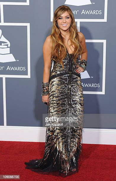Recording artist Miley Cyrus arrives at The 53rd Annual GRAMMY Awards at Staples Center on February 13, 2011 in Los Angeles, California.
