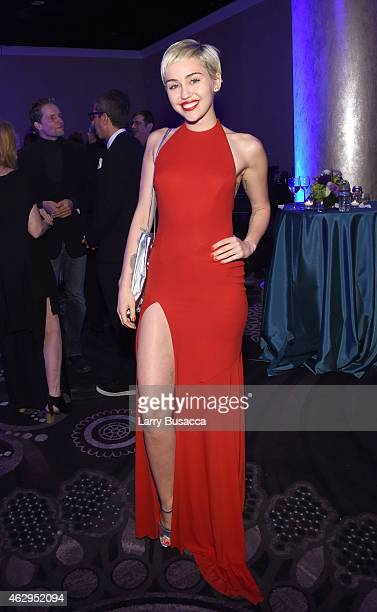 Recording artist Miley Cyrus attends the PreGRAMMY Gala and Salute To Industry Icons honoring Martin Bandier on February 7 2015 in Los Angeles...