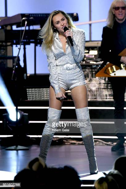 Recording artist Miley Cyrus performs onstage during 60th Annual GRAMMY Awards I'm Still Standing A GRAMMY Salute To Elton John at the Theater at...